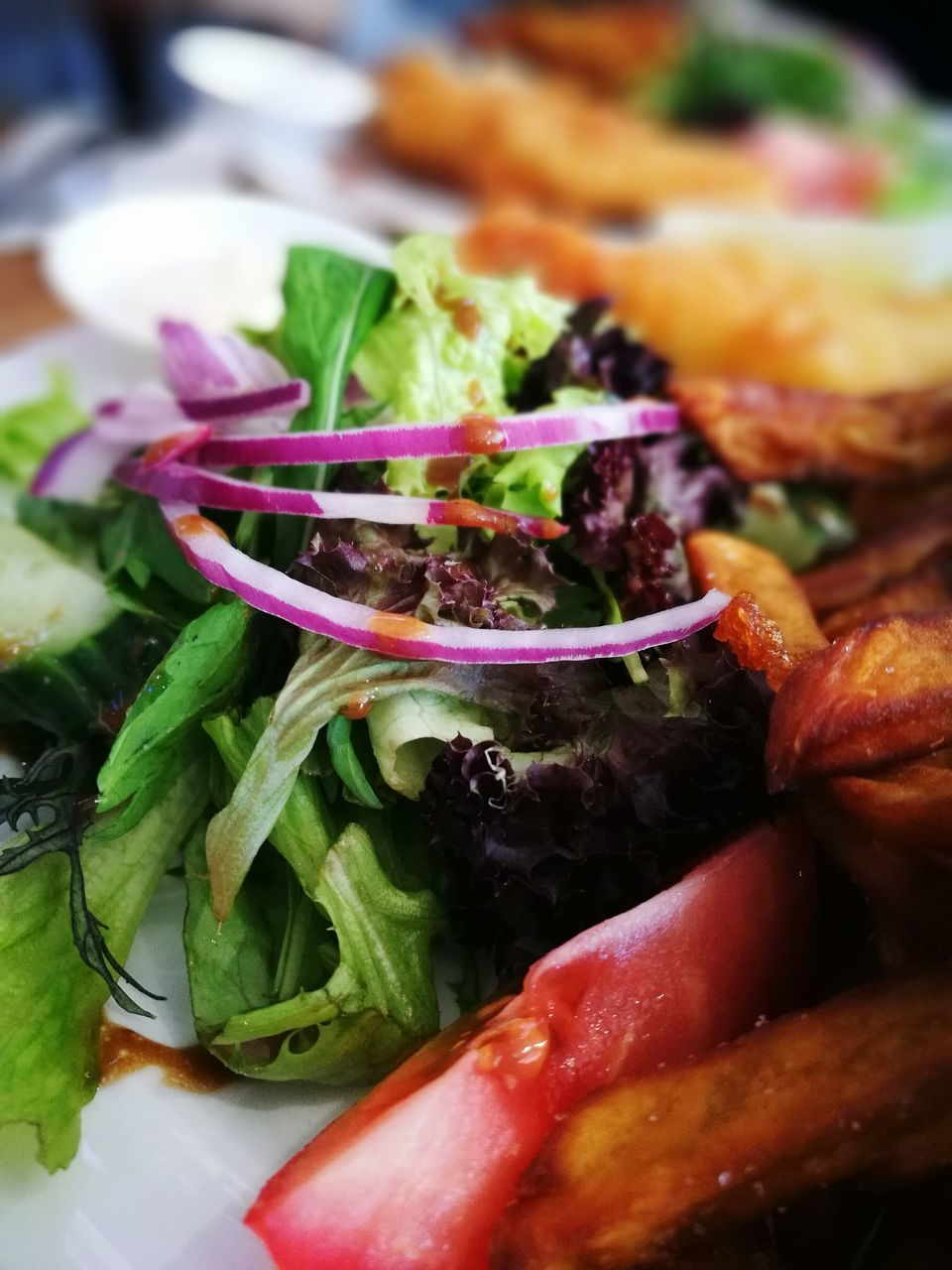 food, vegetable, food and drink, freshness, healthy eating, ready-to-eat, close-up, meat, indoors, wellbeing, salad, serving size, plate, meal, no people, still life, onion, lettuce, indulgence, fruit, garnish, temptation, dinner, vegetarian food, common beet