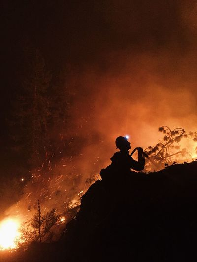 Hold the line! Wildlandfirefighter Fire Burning Nightphotography Silhouette Flame Outdoors
