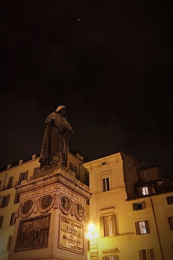 Learn & Shoot: After Dark Statue Monk  Giordano Bruno Night Photography Night Sky iPhoneography Learn & Shoot: Balancing Elements Here Belongs To Me Cities At Night Moving Around Rome