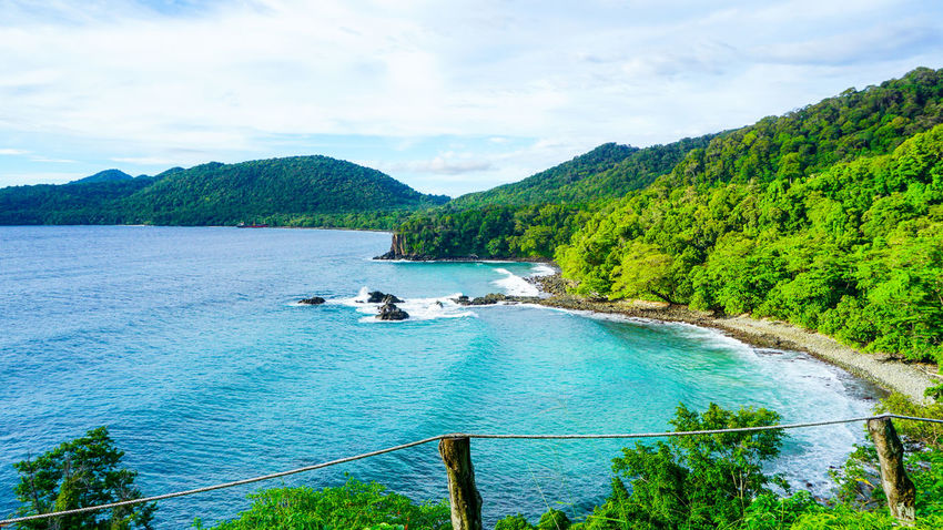 Gua Sarang Cliff with beautiful view of the beach and blue sea water Aceh Aceh, Indonesia Gua Sarang Guangzhou INDONESIA Nature Sabang Travel Acheh Blue Sky Blue Water Cliff Hill Landscape Outdoors Sabah Sabang Island Sea