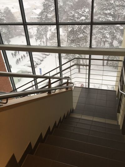 Stairs Staircase Stairs_collection Snow ❄ Snow Majestic Indoors  Window Architecture No People Modern Tree Day Glass Building Glass Wall Glass Window