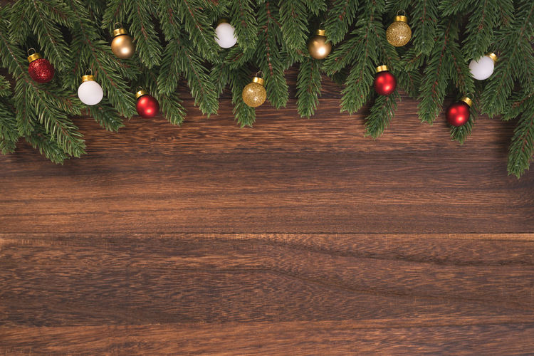 Christmas tree on wooden table