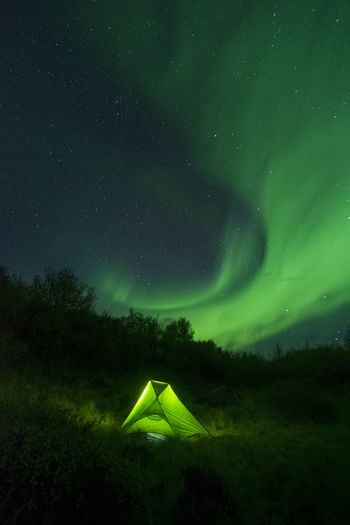 Night Green Color Beauty In Nature Star - Space Tranquility Non-urban Scene Nature Tranquil Scene Illuminated Sky Aurora Aurora Borealis Northern Lights Iceland Iceland_collection Tent Camping Campinglife Outdoors EyeEm Best Shots EyeEmNewHere EyeEm Selects Outdoors Photograpghy  Green Stars