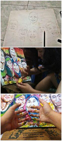 Process 🎨 PowerRangerPelangi Art, Drawing, Creativity Drawing Process Art Processing Painting Drawing Illustration Family RePicture Family