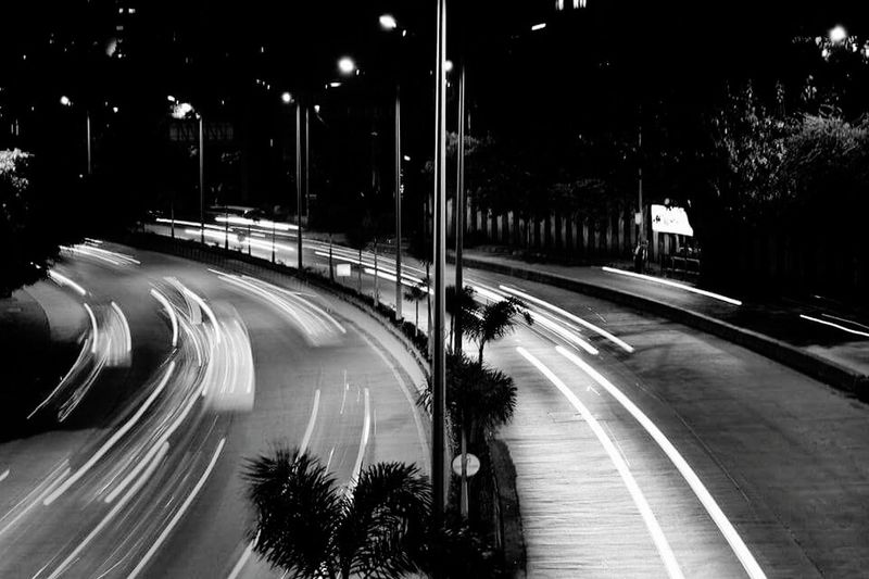 Powai Lake Powai Hiranandani Speed Race Motion Blur Night Road Illuminated City Traffic Light Trail Street Light