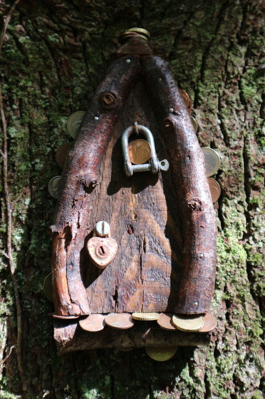 CLOSE-UP OF PADLOCK ON TREE