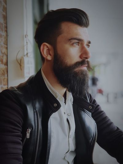 thoughtful EyeEm Selects Warm Clothing Beard Handsome Men Fashion Youth Culture Arts Culture And Entertainment Individuality Hipster - Person Portrait Leather Jacket Leather Thoughtful
