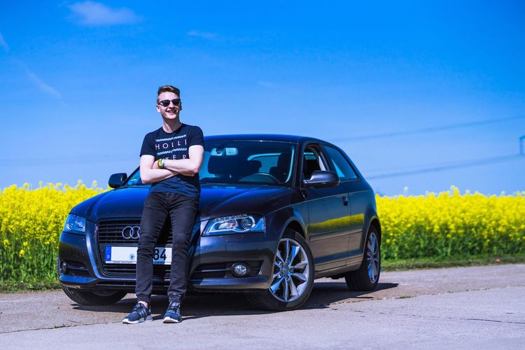 My best friend got his new car. He seems to like it. Car Sunglasses Mid Adult Happiness Blue Smiling Sky Outdoors Audi A3 Sport Land Vehicle Rapeseed Field Full Length Lifestyles Portrait