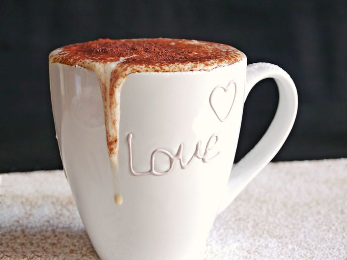 Be My Valentine Valentine's Day  Close-up Coffee - Drink Coffee Cup Creamy Day Drink Food And Drink Freshness Frothy Drink Indoors  Milk Foam No People Powdered Chocolate Powdered Sugar Refreshment Studio Shot