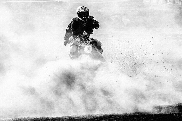 Man riding motorcycle on mountain