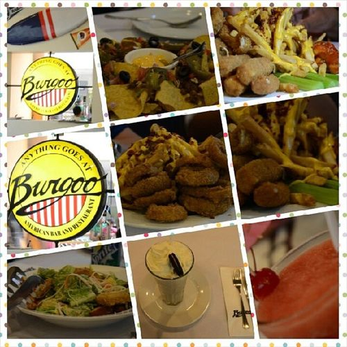 American foods. Shakes Shrimps Fries Burgers Pizza Salad Babybackribs Burrp !Delicious Burgoo MOA