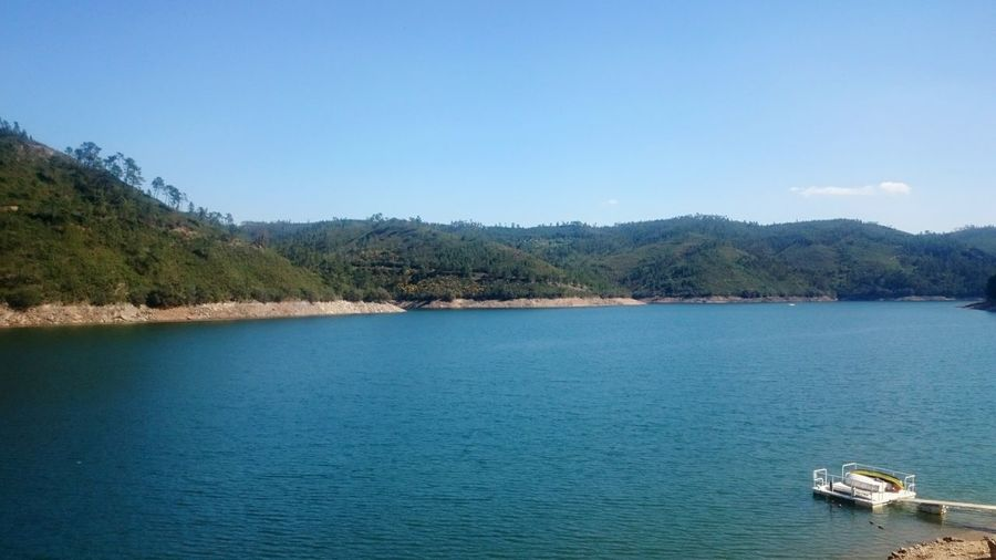 Water Blue Lake Tranquility Clear Sky Outdoors Tranquil Scene Nautical Vessel Beauty In Nature No People Nature Ferreira Do Zezere Portugal Live For The Story