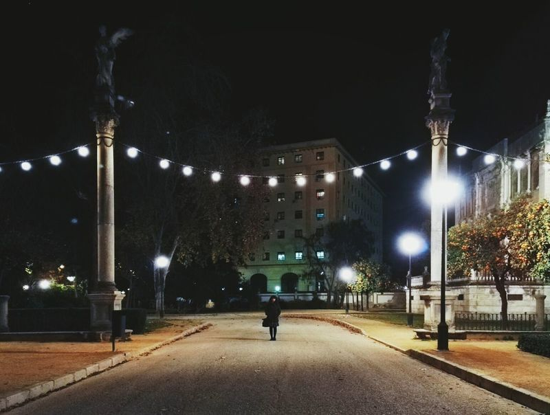 Sevilla SPAIN Night People City Park Lights In The Dark One Person Adult Travel One Woman Only Only Women The City Light