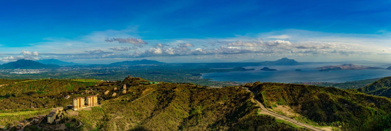 Panoramic view of landscape and sea against sky