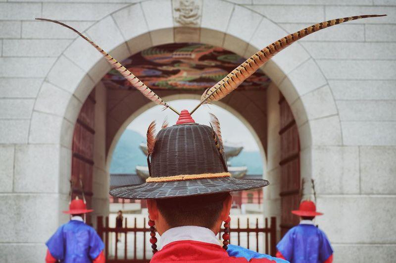 Rear View Of Honor Guards At Korean Palace