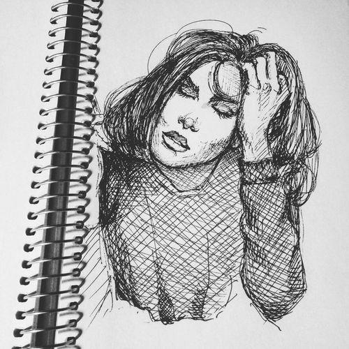 Quicksketch Portrait Drawing Sketchbook Pen Illustration