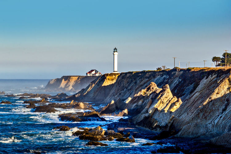 Point arena lighthouse at the pacific ocean, mendocino county, california usa