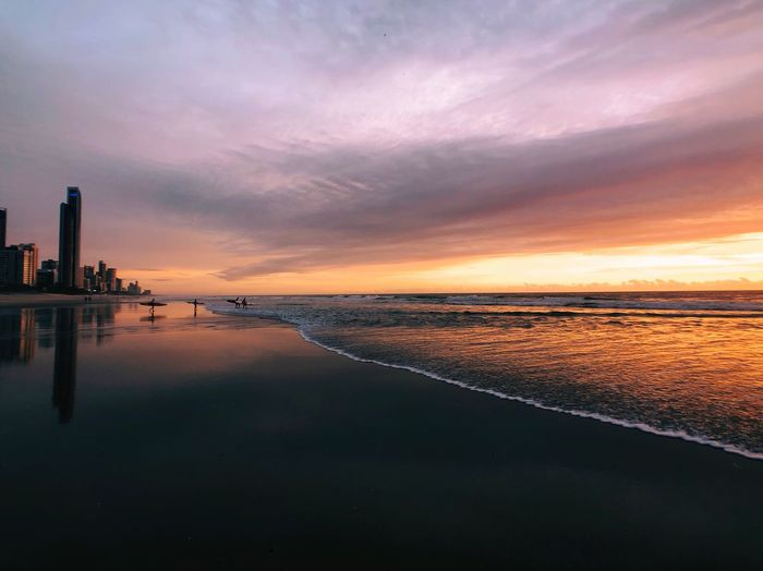 Water Sky Sunset Sea Cloud - Sky Beach Scenics - Nature Beauty In Nature Land Reflection Tranquility Nature Tranquil Scene No People Architecture Dusk Idyllic Dramatic Sky Horizon Horizon Over Water