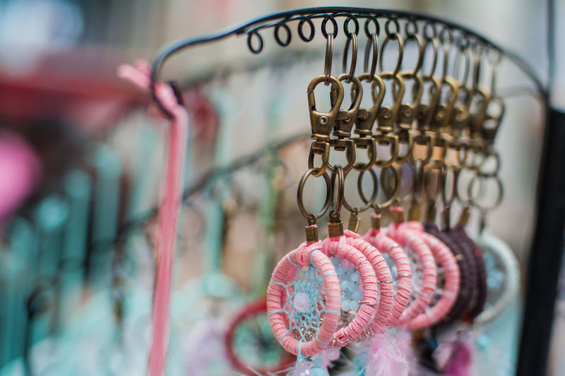 Close-up Of Dreamcatcher Hanging At Market Stall