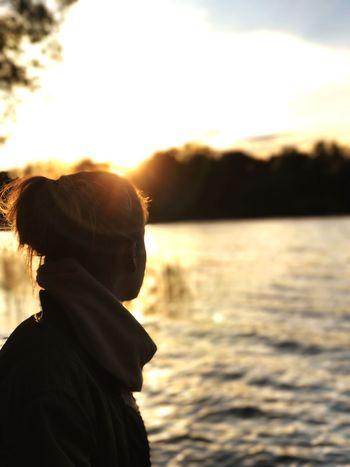 Sunset Summer Girl Lake