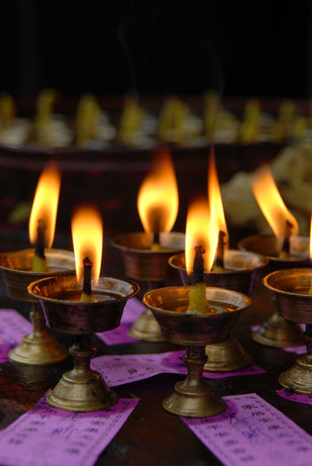 Candles Burning China Diya - Oil Lamp Flame Indoors  No People Oil Lamp Prayer Prayer Candles Temple