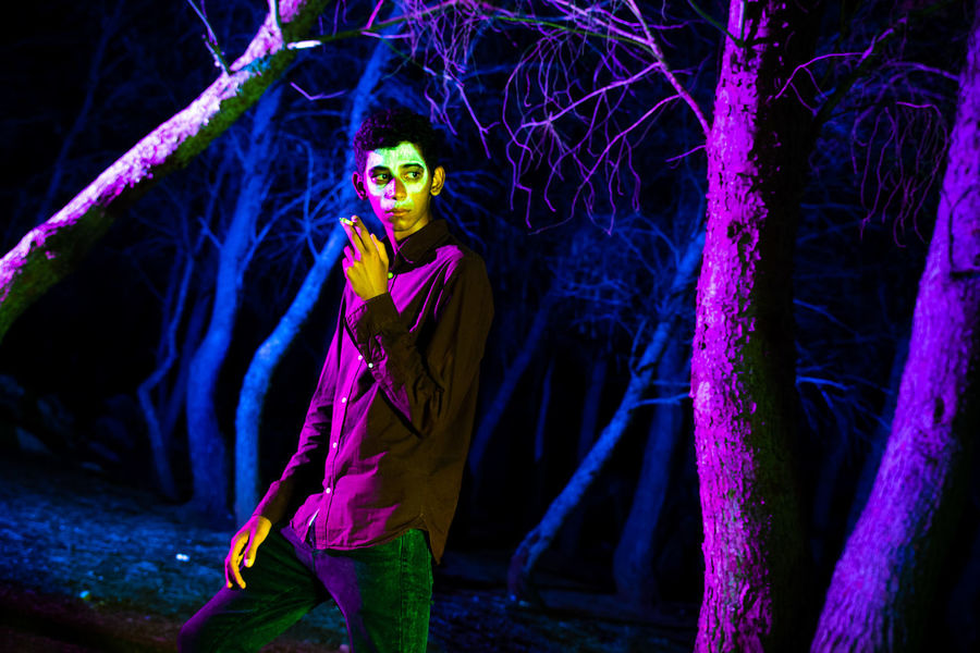 People Horror Photography People Photography Trees Colors Boy Men Colorful Nightphotography Horrorart Young Women Portrait Performance Looking At Camera Full Length Stage Costume Halloween Body Paint Entertainment