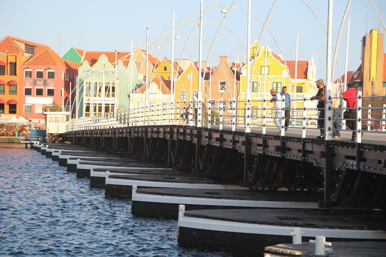 Big Emma Bridge Bridge - Man Made Structure Built Structure Clear Sky Day Handelskade Outdoors People Ponton Bridge Curacao Water