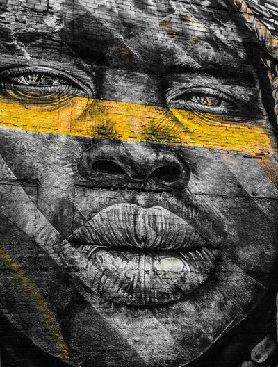 Urban Art Rio De Janeiro Rio De Janeiro Eyeem Fotos Collection⛵ Graffiti Creativity Close-up Full Frame Art And Craft No People Backgrounds Yellow Pattern Day Textured  Graffiti Outdoors Representation Paint Multi Colored Black Color Nature Human Representation Auto Post Production Filter