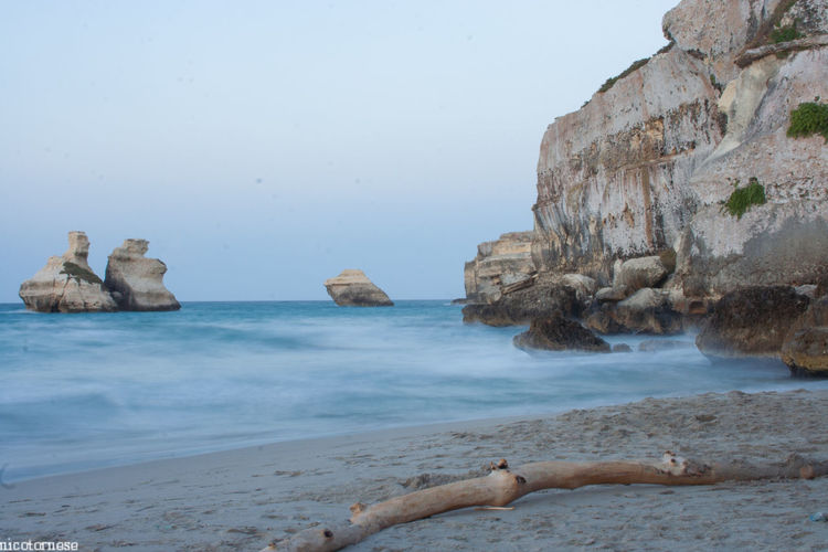 Sea Beach Rock - Object Landscape Coastline Nature Sand Scenics Water Outdoors No People Beauty In Nature Day Sky Puglia Salento Salento Puglia Nature Horizon Over Water Travel Destinations Italia Italy