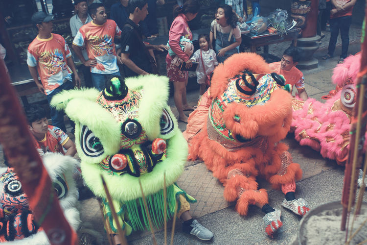 Day High Angle View Indoors  Large Group Of People Lion Dance People Performance Real People
