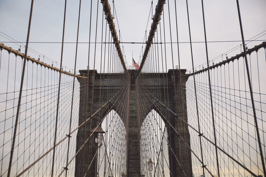 Architecture Architecture Bridge - Man Made Structure Brooklyn Bridge  Brooklyn Bridge / New York Built Structure Cable-stayed Bridge City City Connection Day Engineering Low Angle View New York New York City No People Outdoors Sky Steel Cable Sunset Suspension Bridge Transportation Travel Destinations Winter