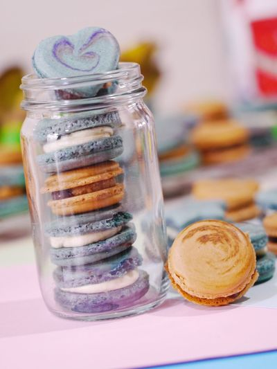 Close-up of ice cream in jar on table