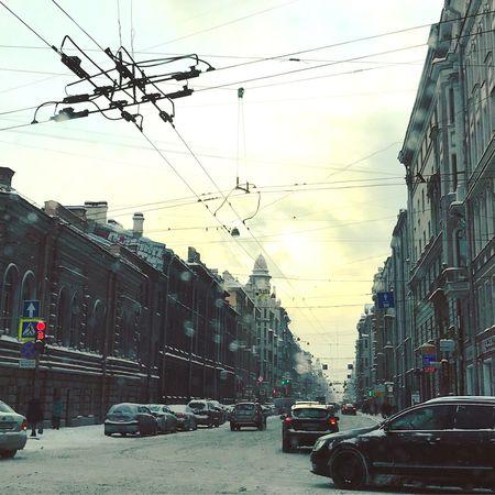 Petrogradskaya District Saint Petersburg Transportation Built Structure Architecture Building Exterior Power Line  Sky Road No People Outdoors Day Street City