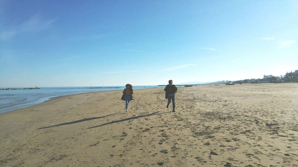 Beach Sand Sea Two People Togetherness Horizon Over Water Sky Day Running Free LGG4