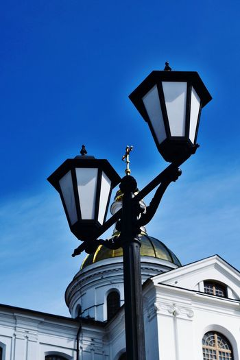 clear sky sky city streetlamp, outdoors Calmness church architecture Church building exterior built structure architecture Cathedral no people bluesky colors of life summer sky and clouds Dome Church Dome Church Cross Golden Dome Clear Sky Vitebsk,Belarus