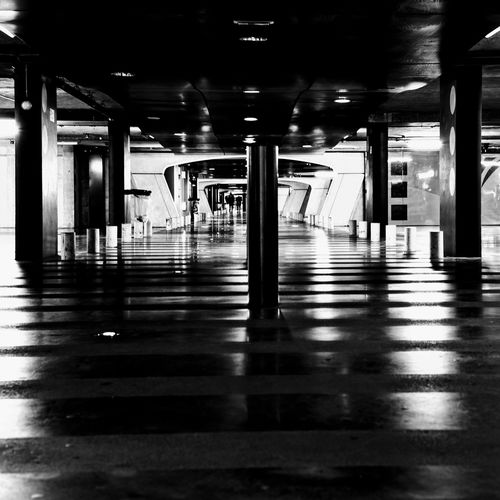 Architectural Column Architecture Blackandwhite Photography Built Structure Illuminated Indoors  Interior Underground Underground Parking Welcome To Black