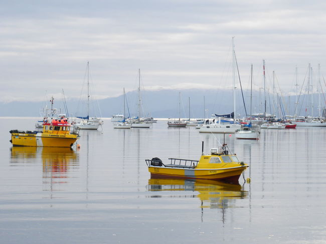 Sky And Clouds Ushuaia Argentina Boats And Water Calm Water Bay Area Water Harbor