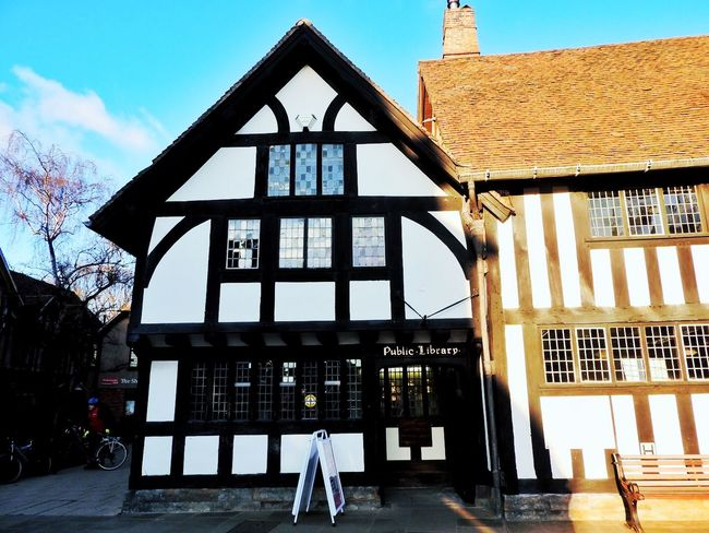 Architecture Blue Sky Building Exterior Built Structure Historical Building History House Old Shop Shopping Stained Glass Window Stratford-upon-Avon Traditional Traditional Culture Warwickshire White White Stripe William Shakespeare Window