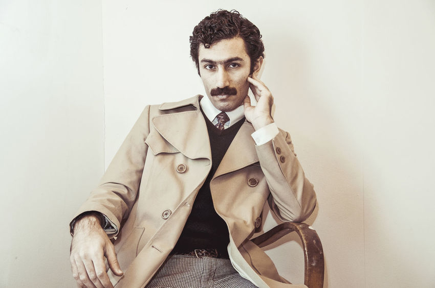 Man Movember Retro Suit Well Dressed Beard Business Businessman Day Hairstyle Handsome Lifestyles Looking At Camera Mustache One Person Only Men Portrait Real People Retro Styled Studio Shot Vintage Well-dressed White Background Young Adult Young Men