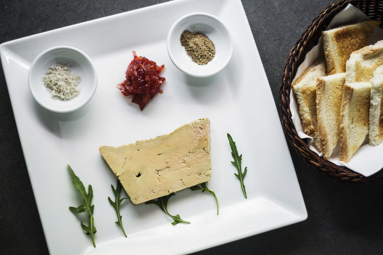 Foie gras pate french starter food Foie Gras Set Snack Tapas Bread Close-up Duck Liver Food Food And Drink French French Food Freshness Gourmet Food Healthy Eating High Angle View Indoors  Indulgence Liver Pate No People Pate Plate Ready-to-eat Starter Still Life Table