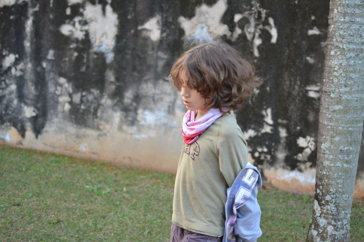 Thinking where is the jacket. Casual Clothing Child Jacket Outdoors Thinking