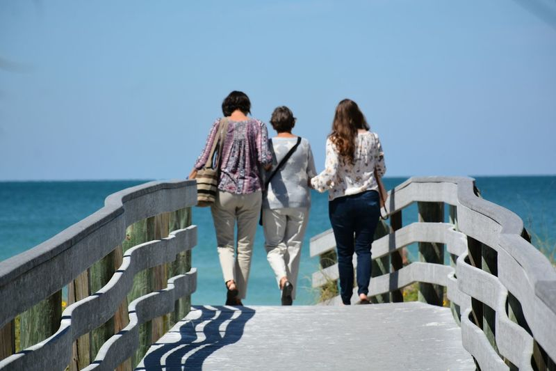 Rear view of women walking on footbridge against sea and clear sky