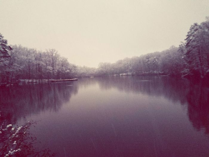 Echo Lake Reflection Lake Water Reflection Tree Fog Outdoors Sky Nature No People Tranquility Scenics Day Beauty In Nature Winter
