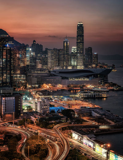 Hong Kong skyline just after sunset, high angle view ASIA Hong Kong Hong Kong City Architecture Building Exterior China City Cityscape High Angle View Illuminated Modern No People Sky Skyscraper Sunset Travel Destinations Urban Skyline Built_Structure Outdoors City Life Transportation Night Fresh On Market 2018 Mobility In Mega Cities Colour Your Horizn