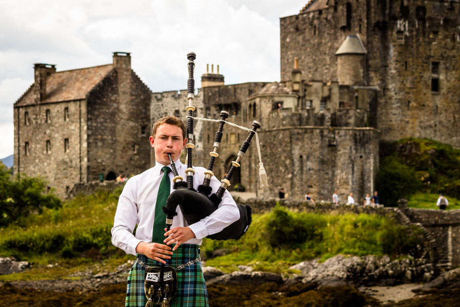 Architecture Bagpiper Bagpipes Castle Castle Eilean Donan Castle History Nature Outdoors Schottland