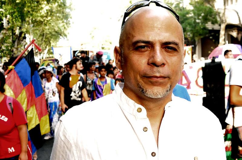 Ariel Prat portrait, argentinian muscician in the street Argentina Muscician Ariel Prat City Life Front View Headshot Murga Muscian  Portrait