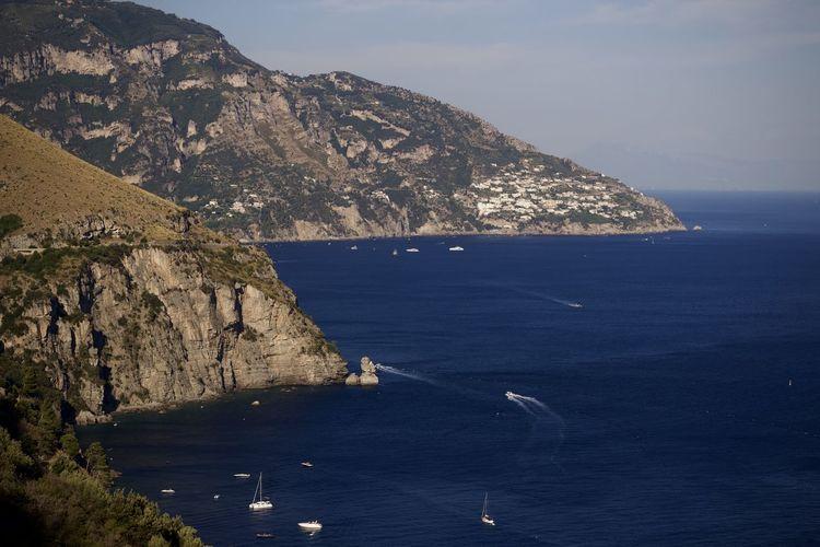 Scenic view of the amalfi coast against sky