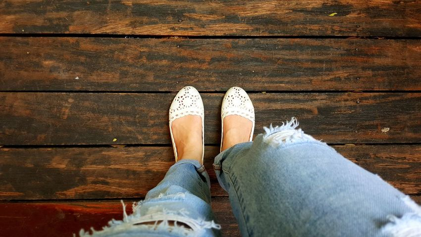 White Shoes Jeans Woman Low Section Human Leg Personal Perspective Selfie Portrait Human Body Part Human Foot One Person High Angle View Standing Day Real People Adult One Woman Only Outdoors Wood - Material Plank Wooden Floor Classic Vintage Copy Space Hipstergirl Style And Fashion