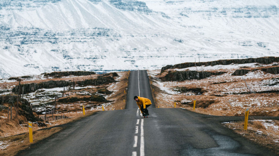 The Great Outdoors - 2018 EyeEm Awards Adult Beauty In Nature Cold Temperature Day Effort Environment Full Length Landscape Men Mountain Nature One Person Outdoors Rear View Road Scenics - Nature Snow Transportation Winter