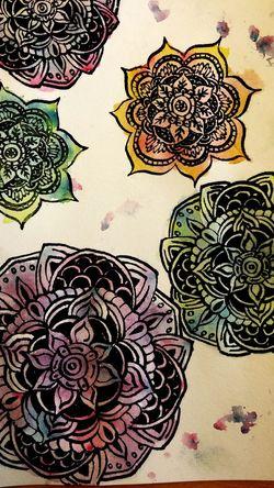 Watercolor Ink Art Mandala Colorful